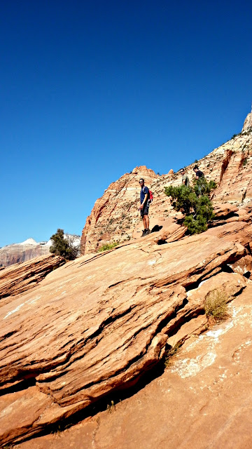 A person standing on a rocky hill