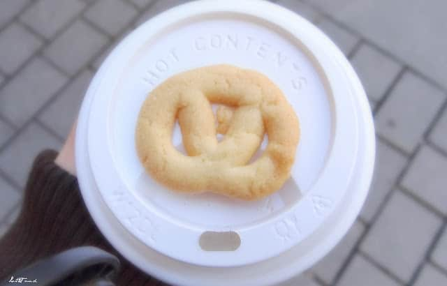 pretzel on coffee
