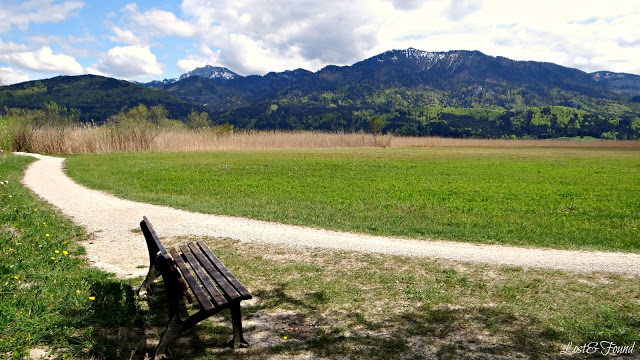 An empty park bench sitting in front of a mountain