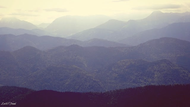 A view of a large mountain in the background