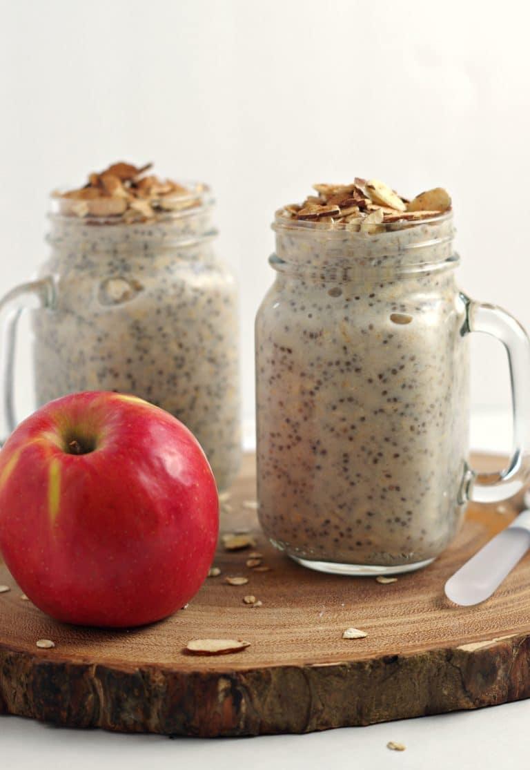Apple Pie Overnight Oats in two mason jars