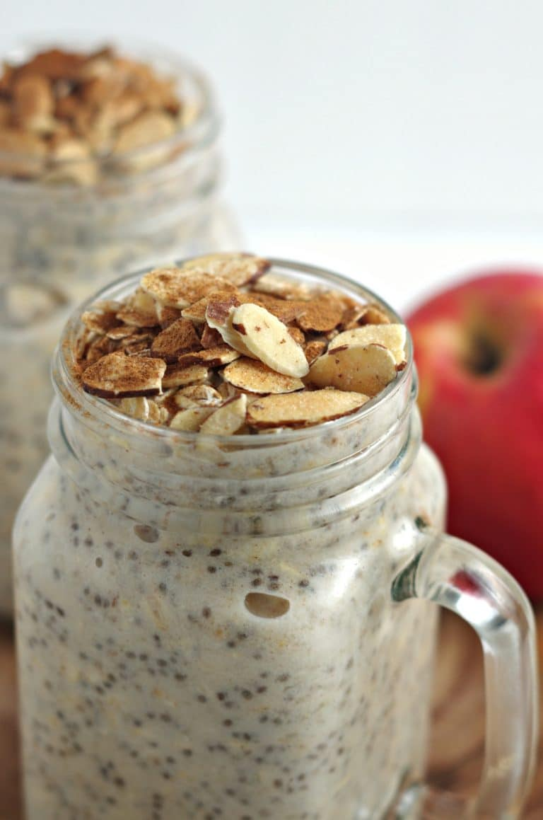 close up of Apple Pie Overnight Oats