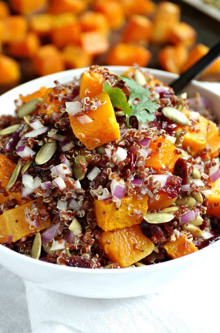 bowl of Quinoa, Butternut Squash and Cranberry Salad with Balsamic Vinaigrette