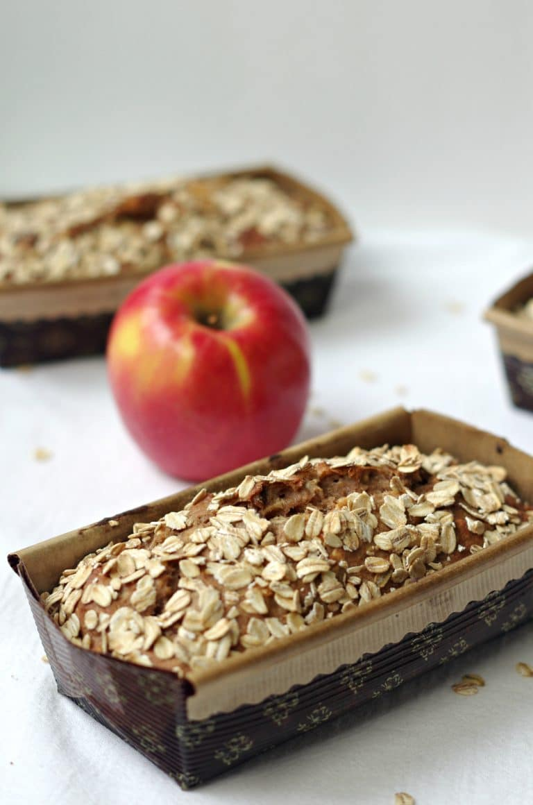 two loaves of Apple Cinnamon Oatmeal Bread with apple