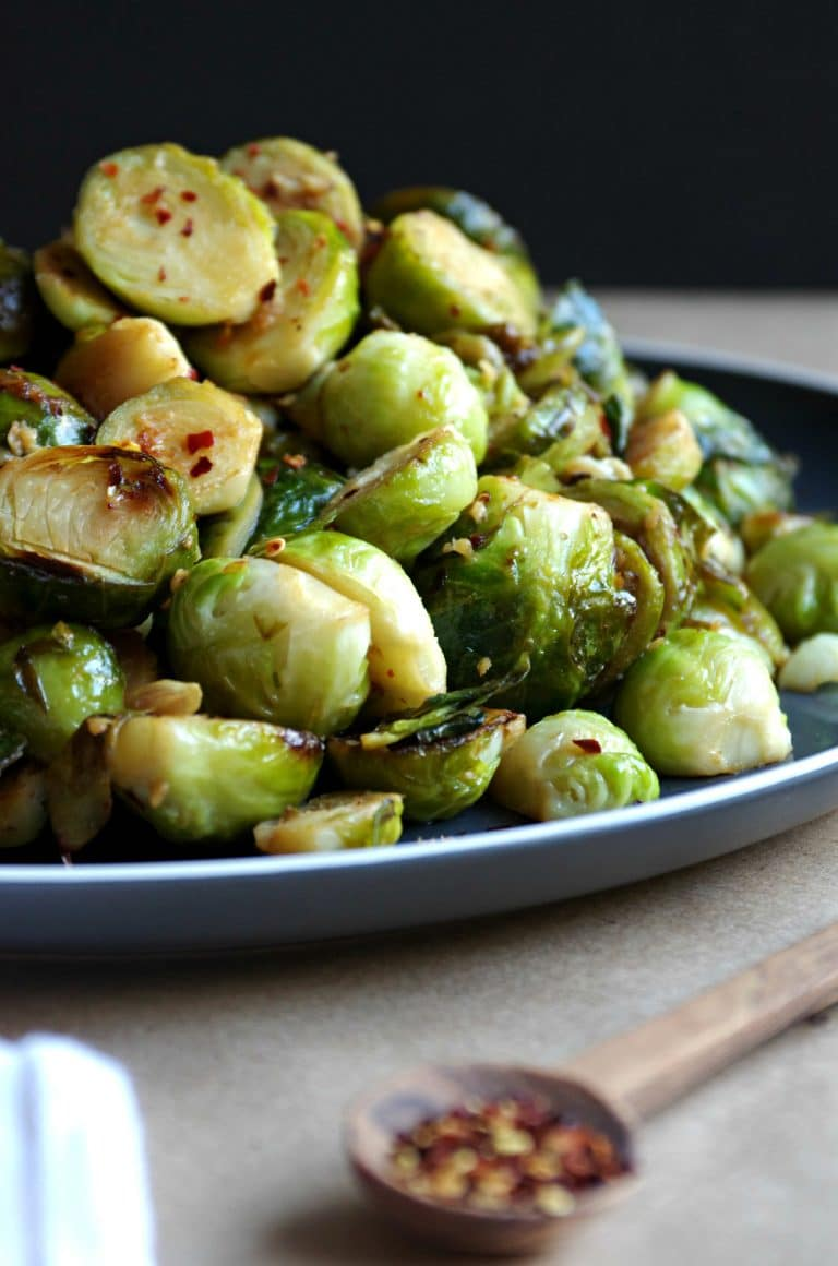 Sautéed Brussels Sprouts with Lemon and Garlic and sprinkled with red chili flakes