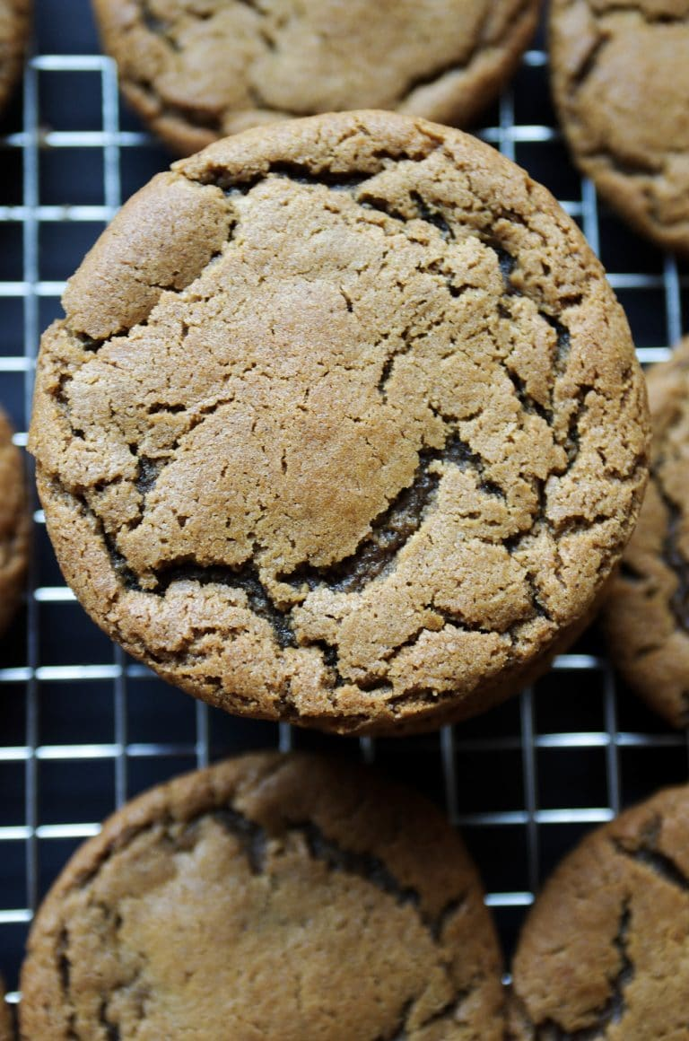 close up of single Ginger Molasses Cookies