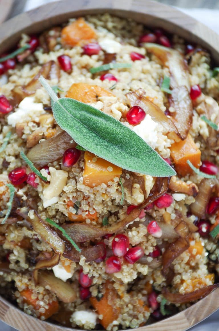 close up of Quinoa Salad with sage leaf