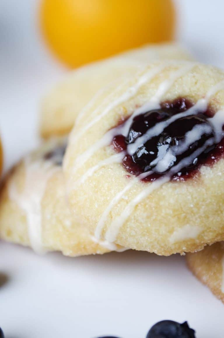 close up image of single Lemon Blueberry Thumbprint Cookies