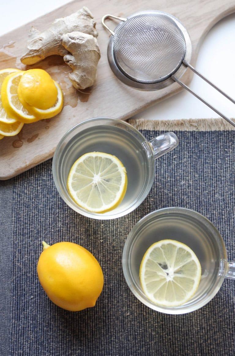 overhead image of two mugs of Lemon Ginger Tea