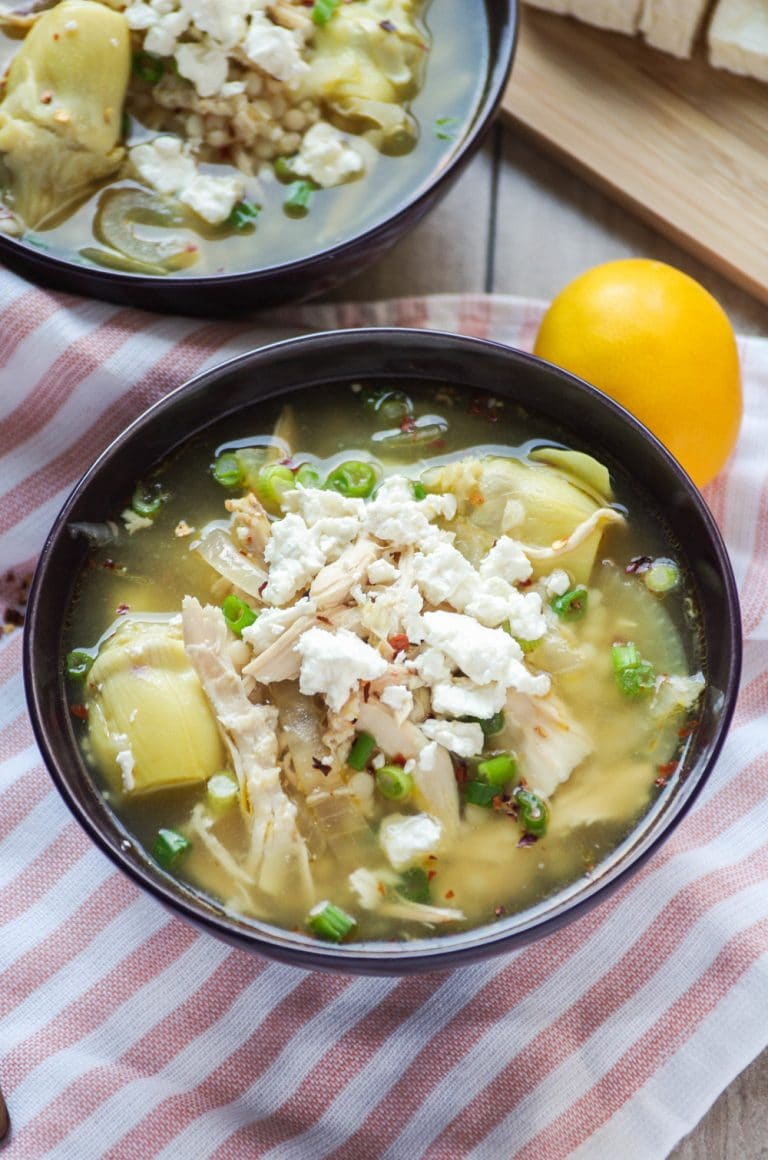 close up of bowl filed with Greek Lemon Chicken Soup Recipe