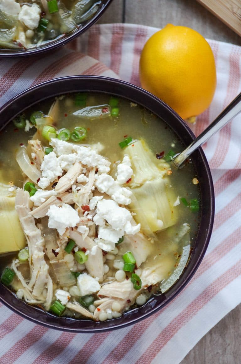 overhead image of bowl filled with Greek Lemon Chicken Soup Recipe