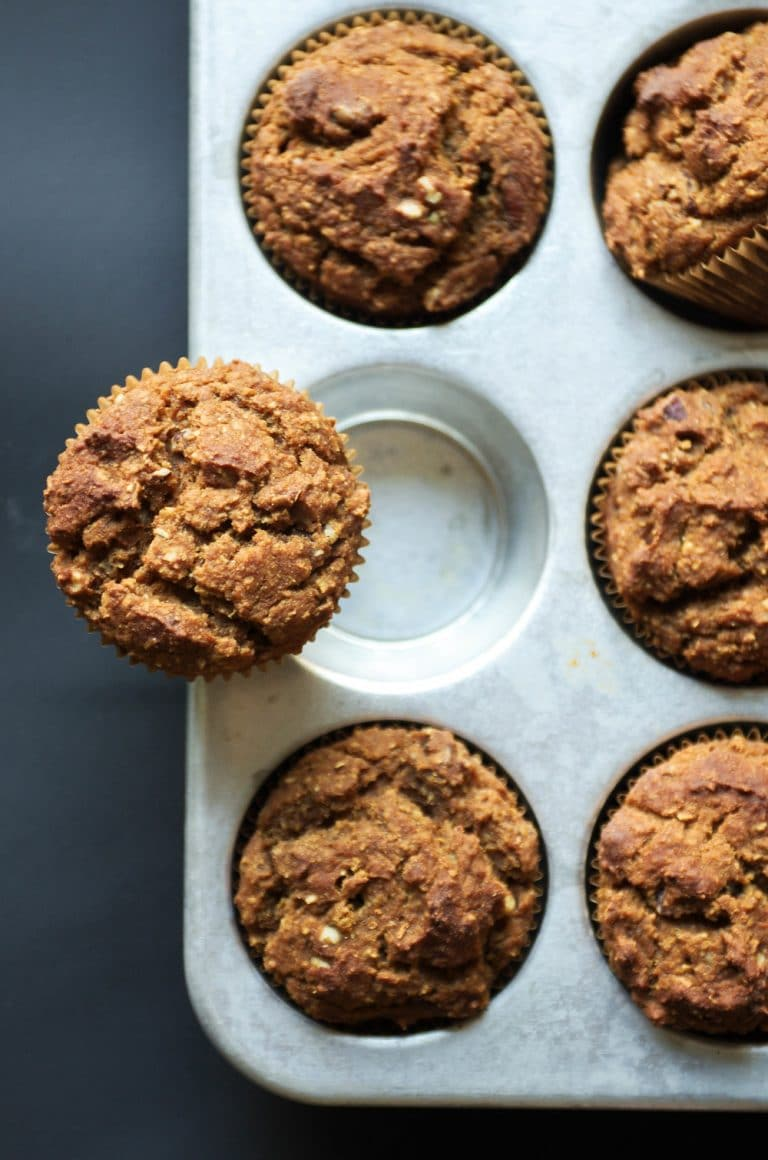 6 Butternut Squash Muffins with Sweet Potato and Banana in muffin tray