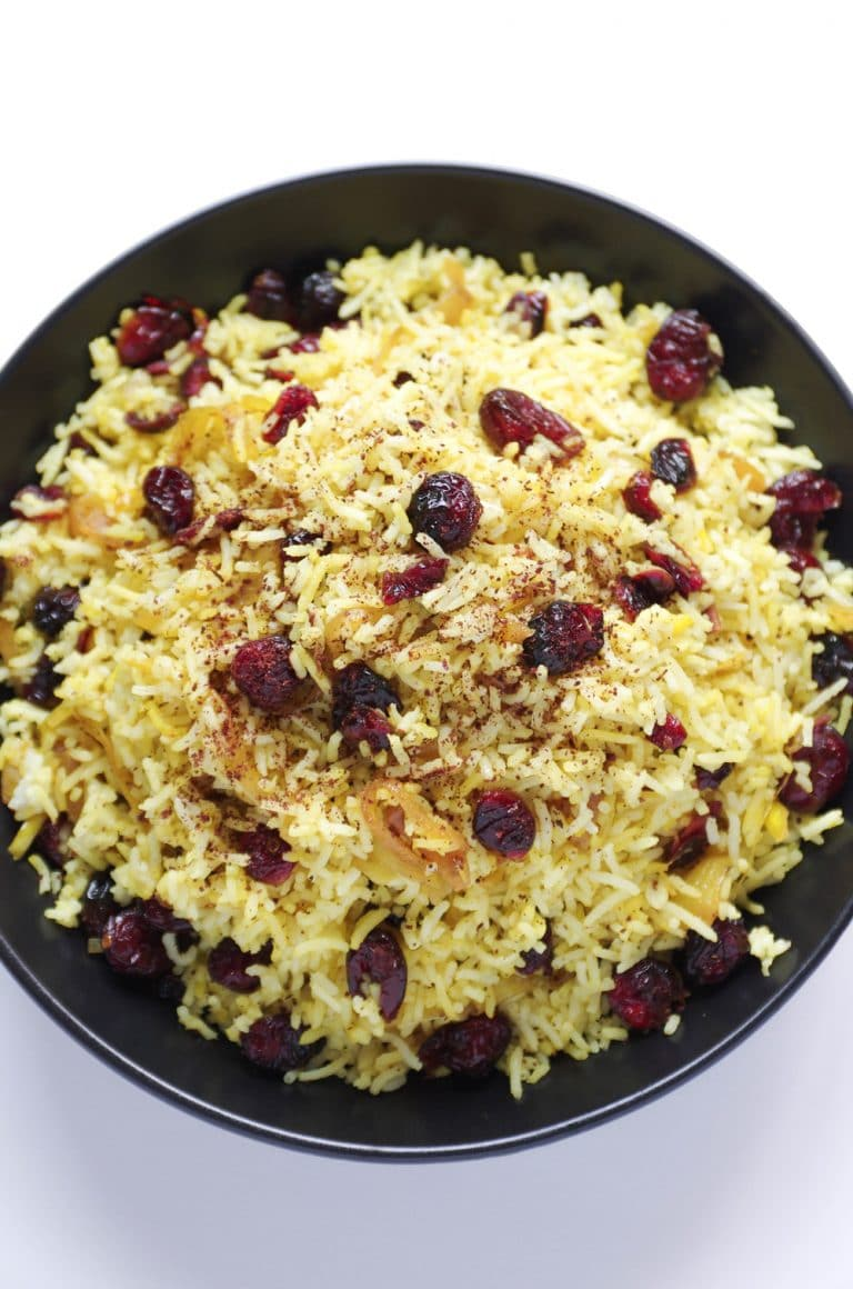 plate of Persian Cranberry Rice Pilaf sprinkled with sumac