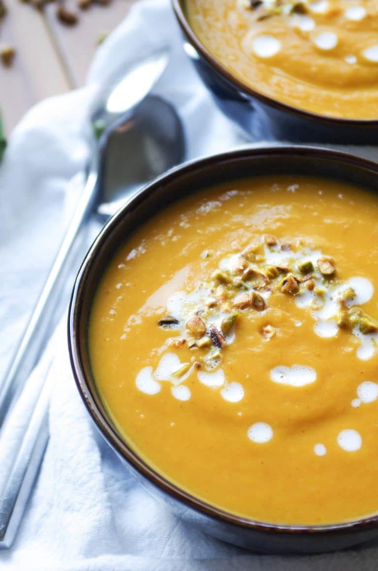 two bowls of Thai Pumpkin and Sweet Potato Soup