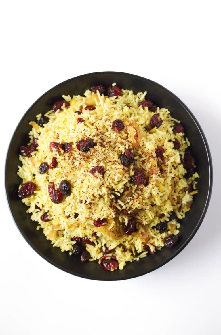 plate of Persian Cranberry Rice Pilaf
