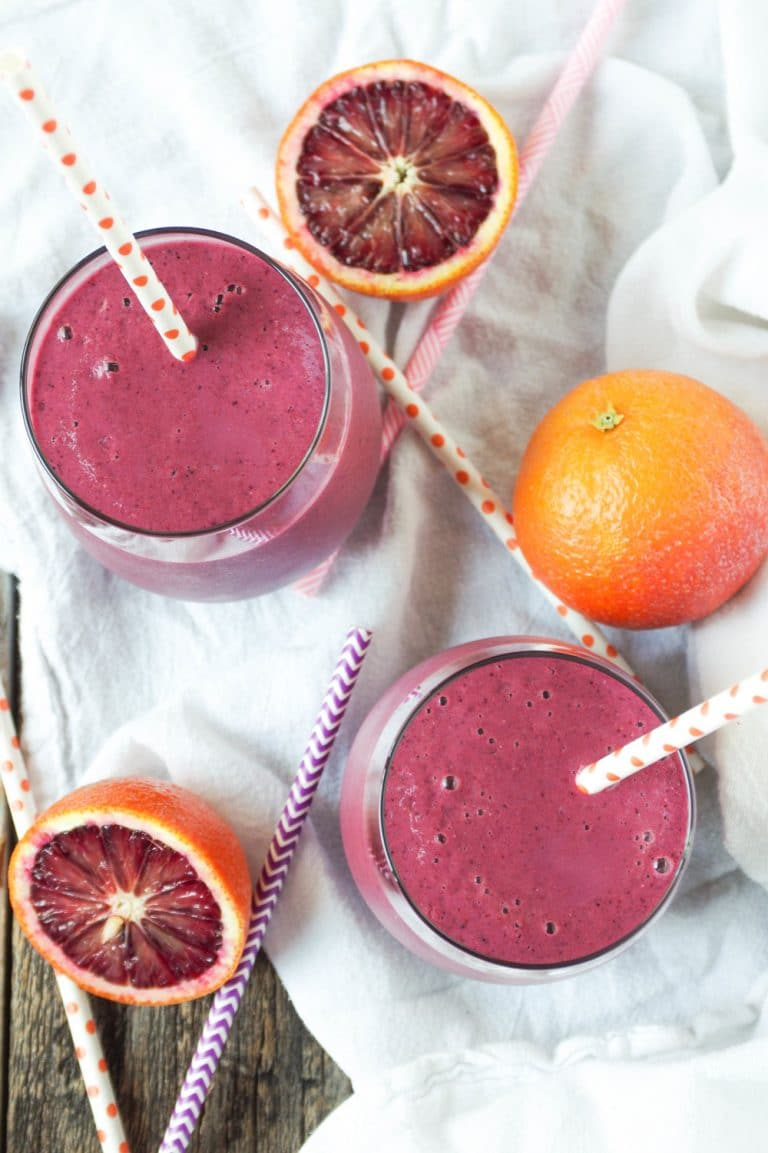 Blood Orange, Beet and Berry Smoothie in two glasses