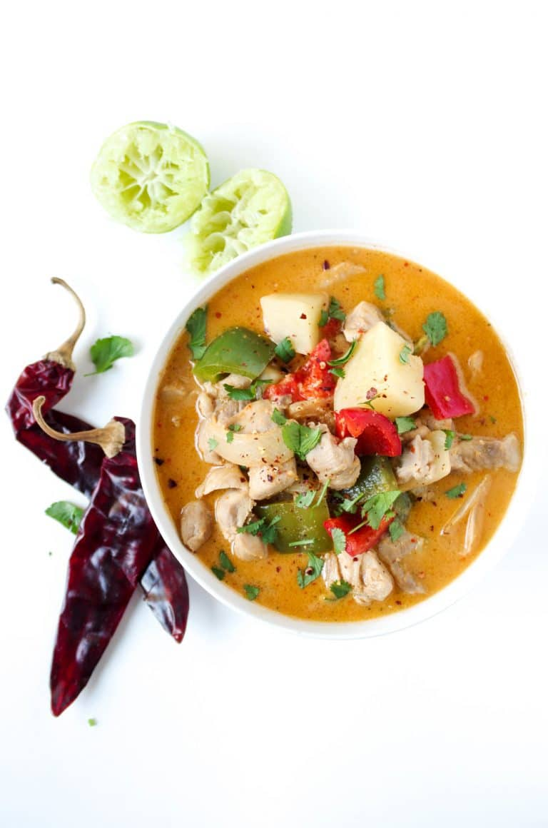 overhead image of Thai Red Curry with Chicken