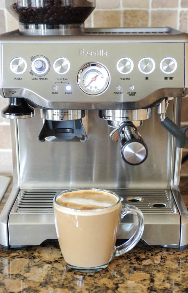 flat white infront of Breville Barista Express