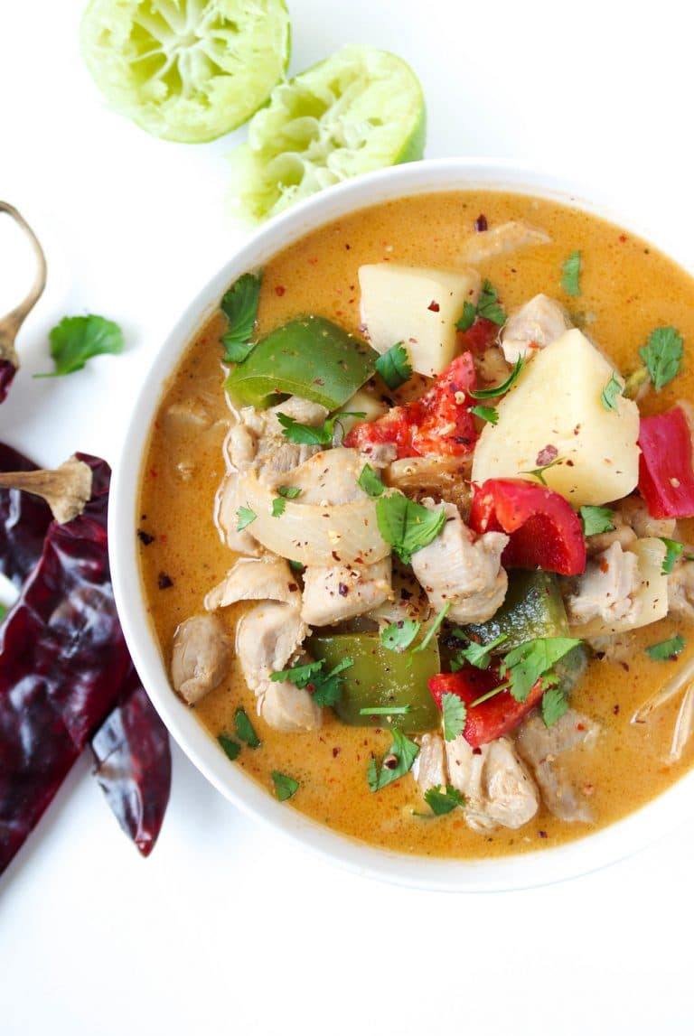close up of bowl filled with Thai Red Curry with Chicken