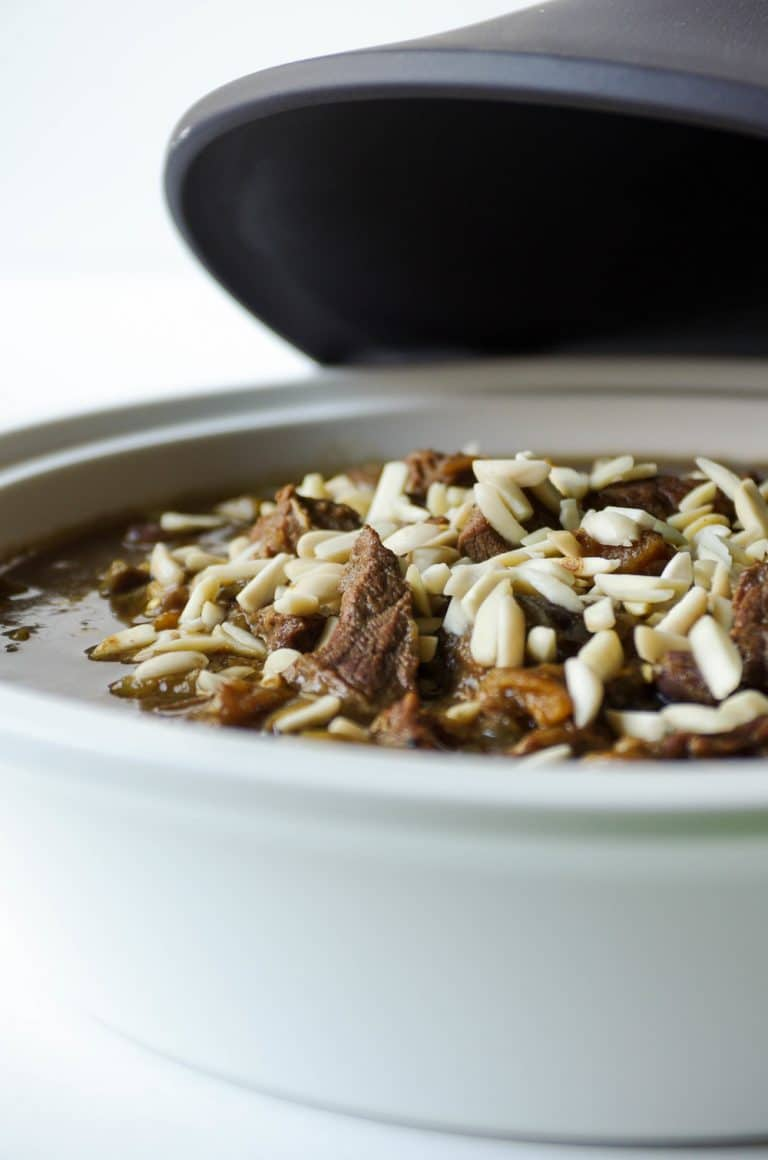 close up of Moroccan Beef Tajine