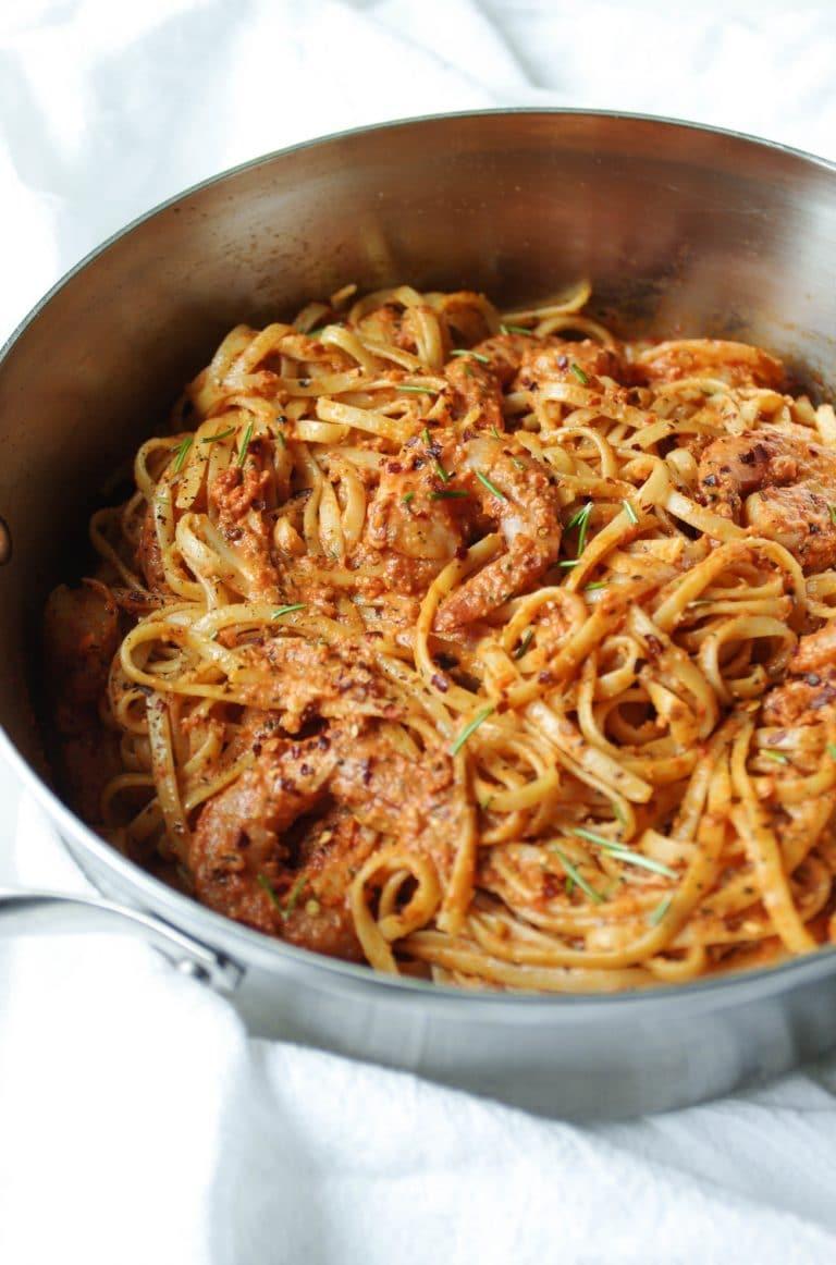 Sun Dried Tomato Basil Pesto Pasta with Shrimp in steel pot