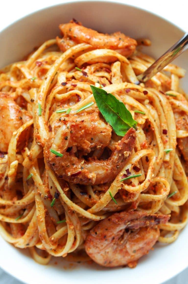 close up of Sun Dried Tomato Basil Pesto Pasta with Shrimp