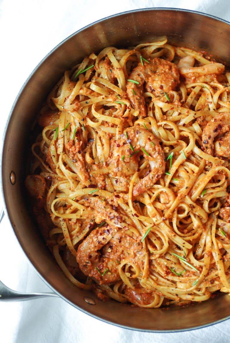 pot full of Sun Dried Tomato Basil Pesto Pasta with Shrimp