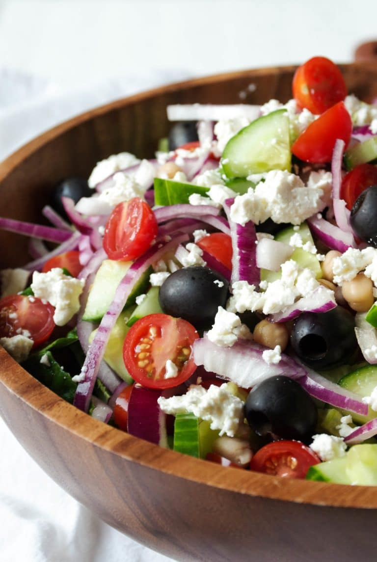 close up of Greek Salad with Lemon Vinaigrette