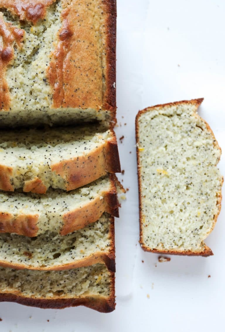 well sliced loaf of Lemon Poppy Seed Bread