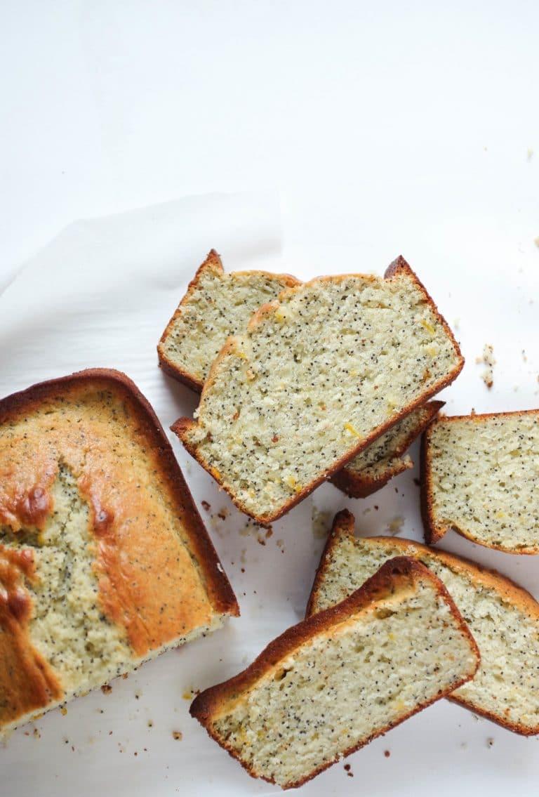 sliced loaf of Lemon Poppy Seed Bread