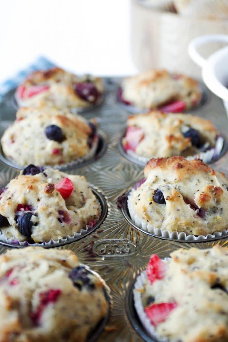 Super Berry Chia Muffins in pan