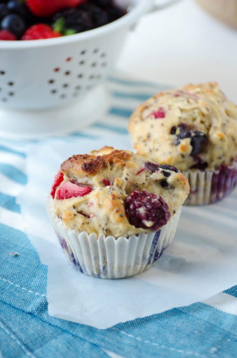 close up of Super Berry Chia Muffins