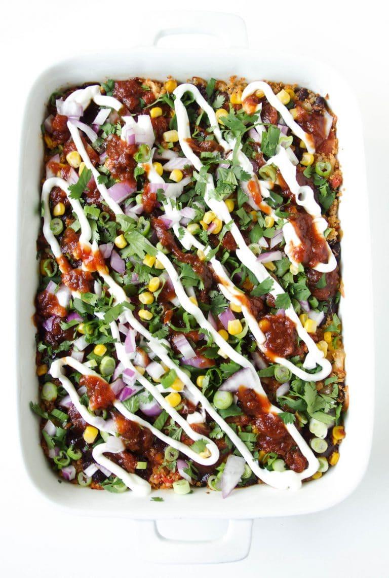 overhead image of BBQ Chicken Quinoa Casserole
