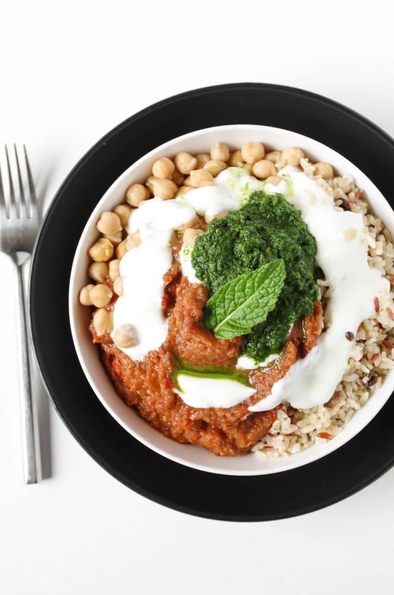plated Eggplant Bowl with Mint Cilantro Chutney