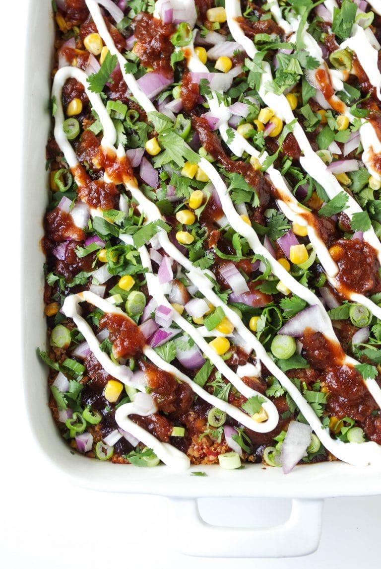 BBQ Chicken Quinoa Casserole in dish