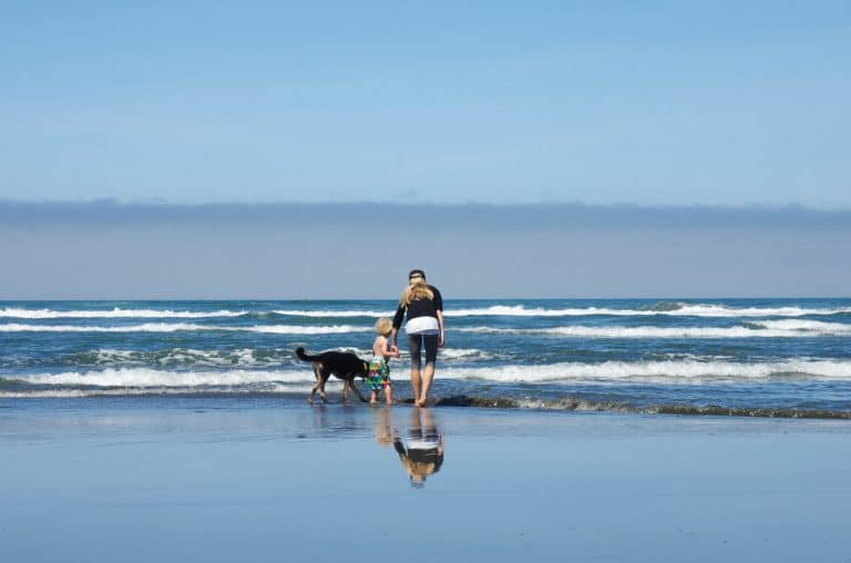 A man walking across a beach next to the water