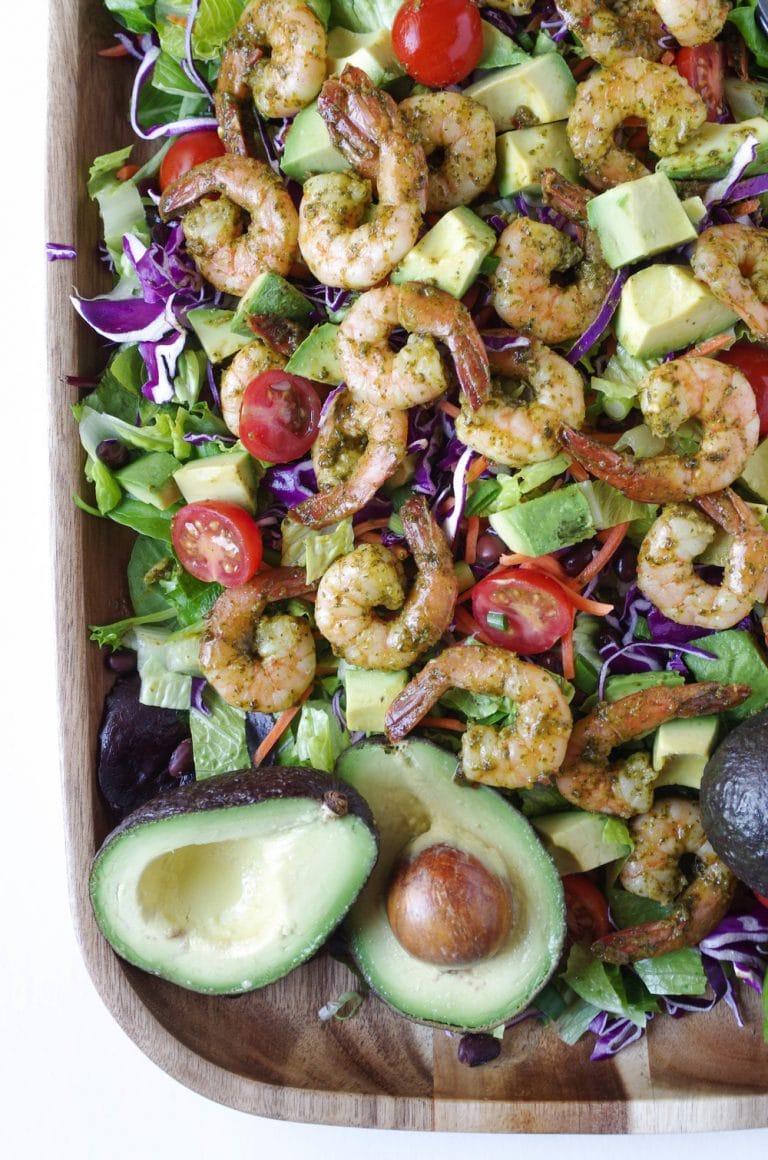 platter full of Shrimp Avocado Salad