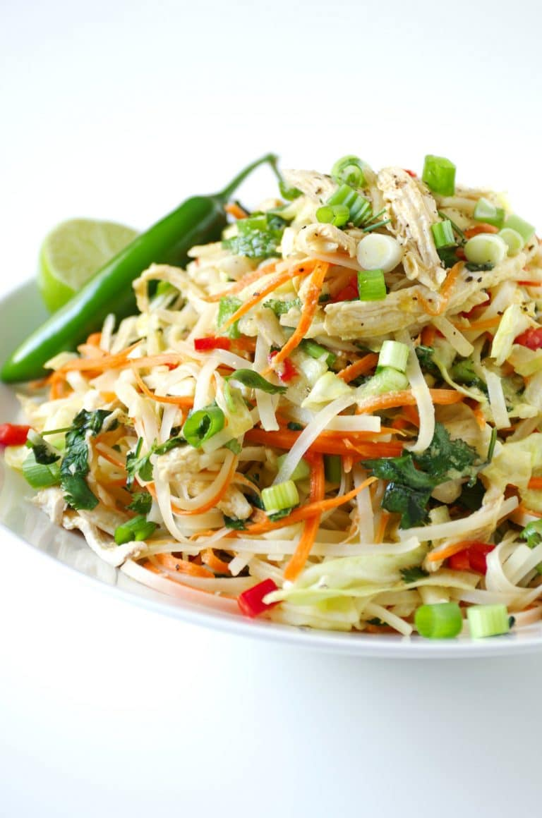 close up of Vietnamese Chicken Salad with Rice Noodles