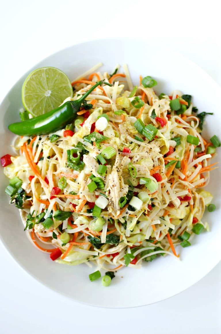 overhead image of Vietnamese Chicken Salad with Rice Noodles
