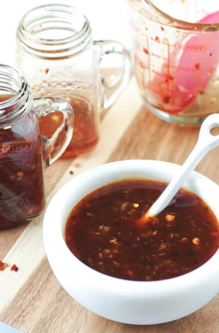 Thai Chili Sauce in dishes and jars