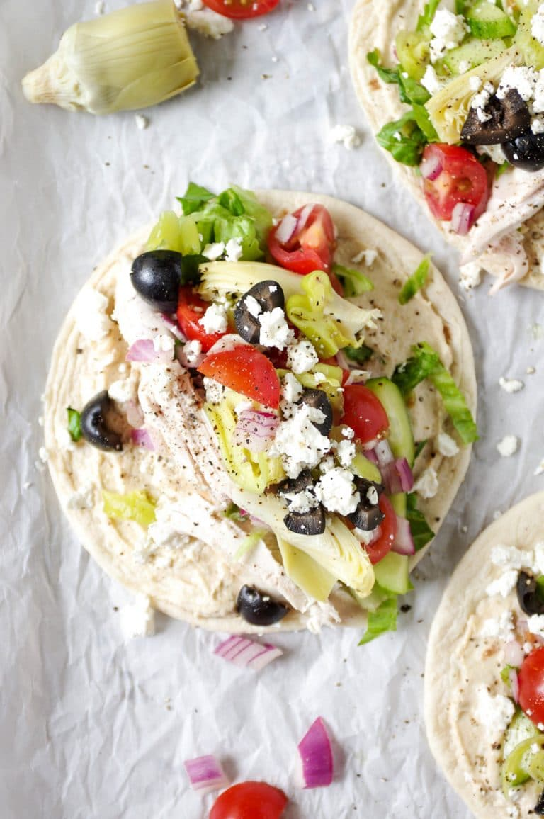 close up of Easy Mediterranean Chicken Wraps with Hummus