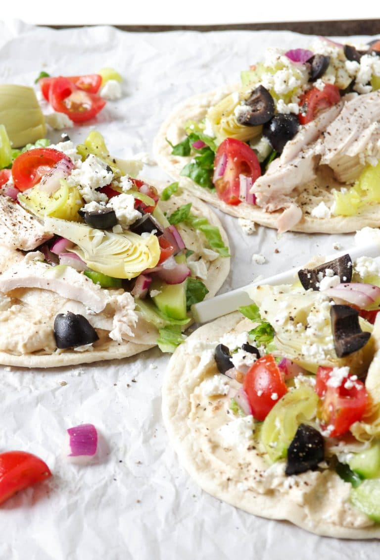 3 Easy Mediterranean Chicken Wraps with Hummus