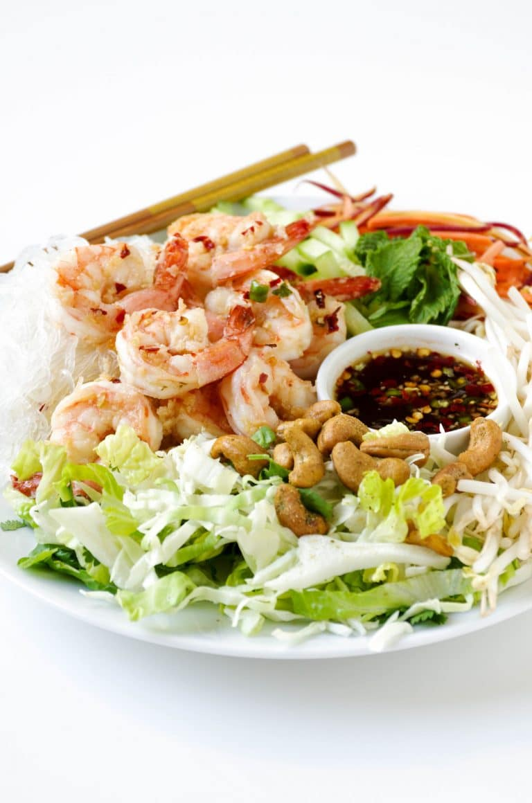 close up of Vietnamese Garlic Prawn Noodle Salad plated