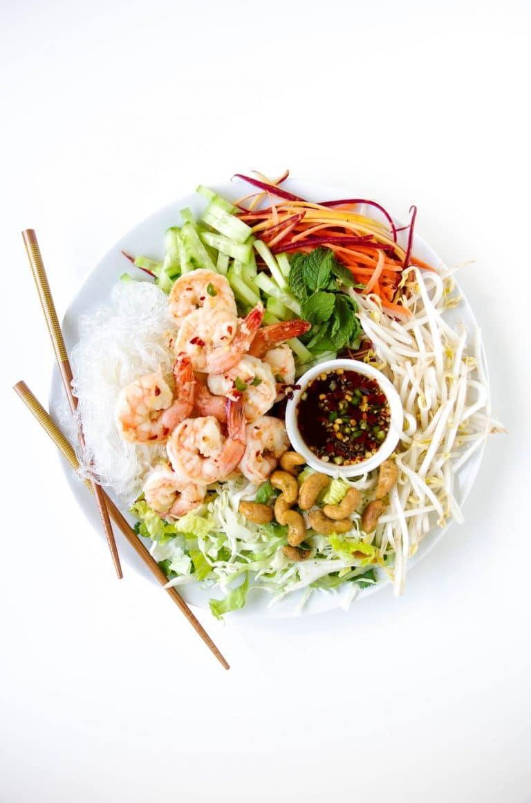 Vietnamese Garlic Prawn Noodle Salad on plate