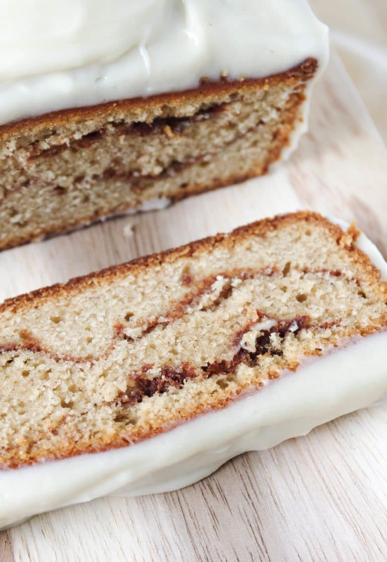 close of sliced Cinnamon Roll Loaf