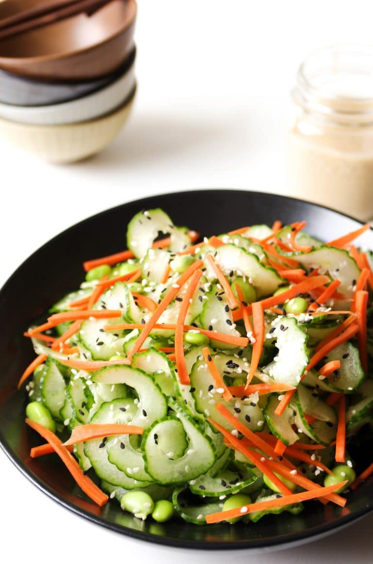 close up of Cucumber Salad with Easy Miso Dressing in jar