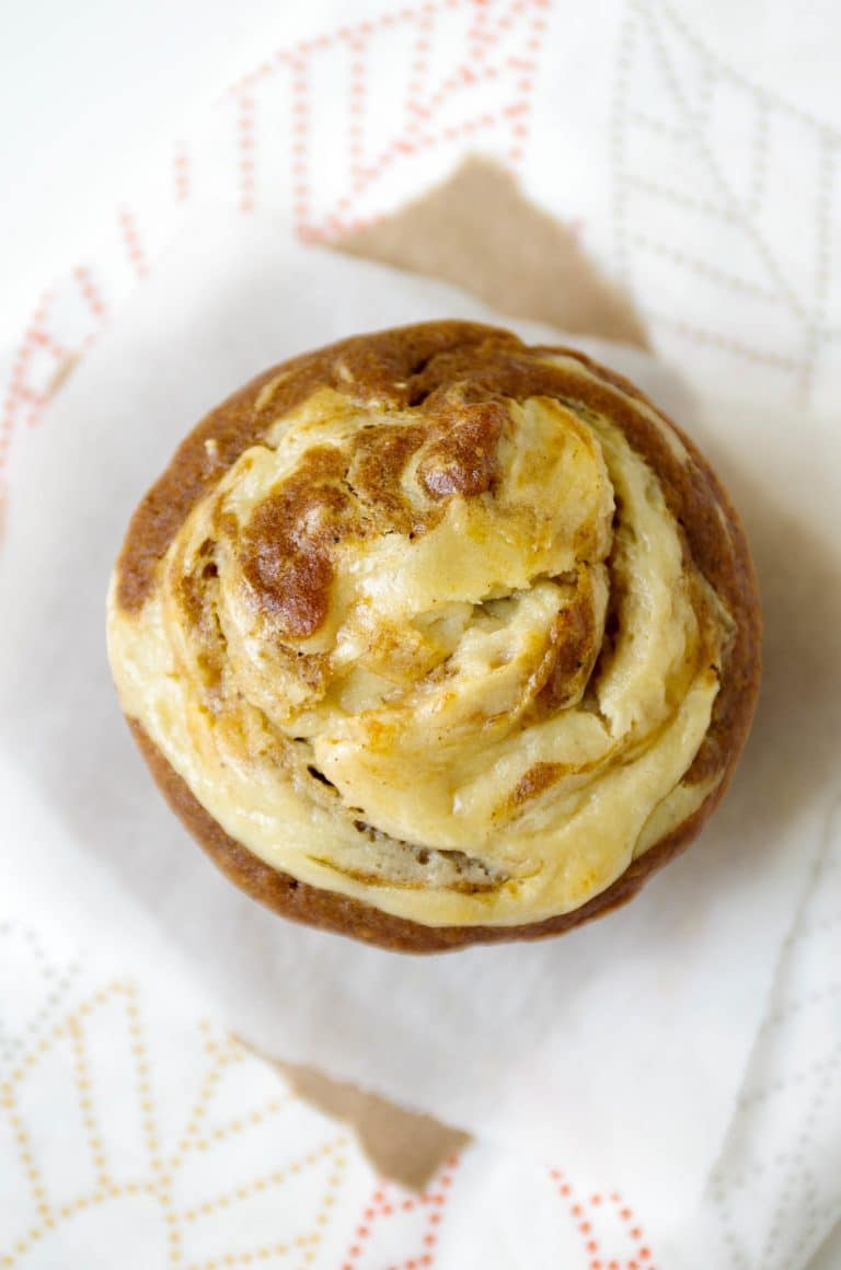 Pumpkin Muffin with a Cream Cheese Swirl