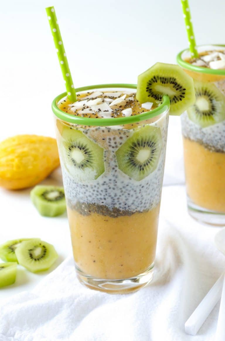 Chia Seed Pudding Cups with Mango, Peach and Kiwi slices