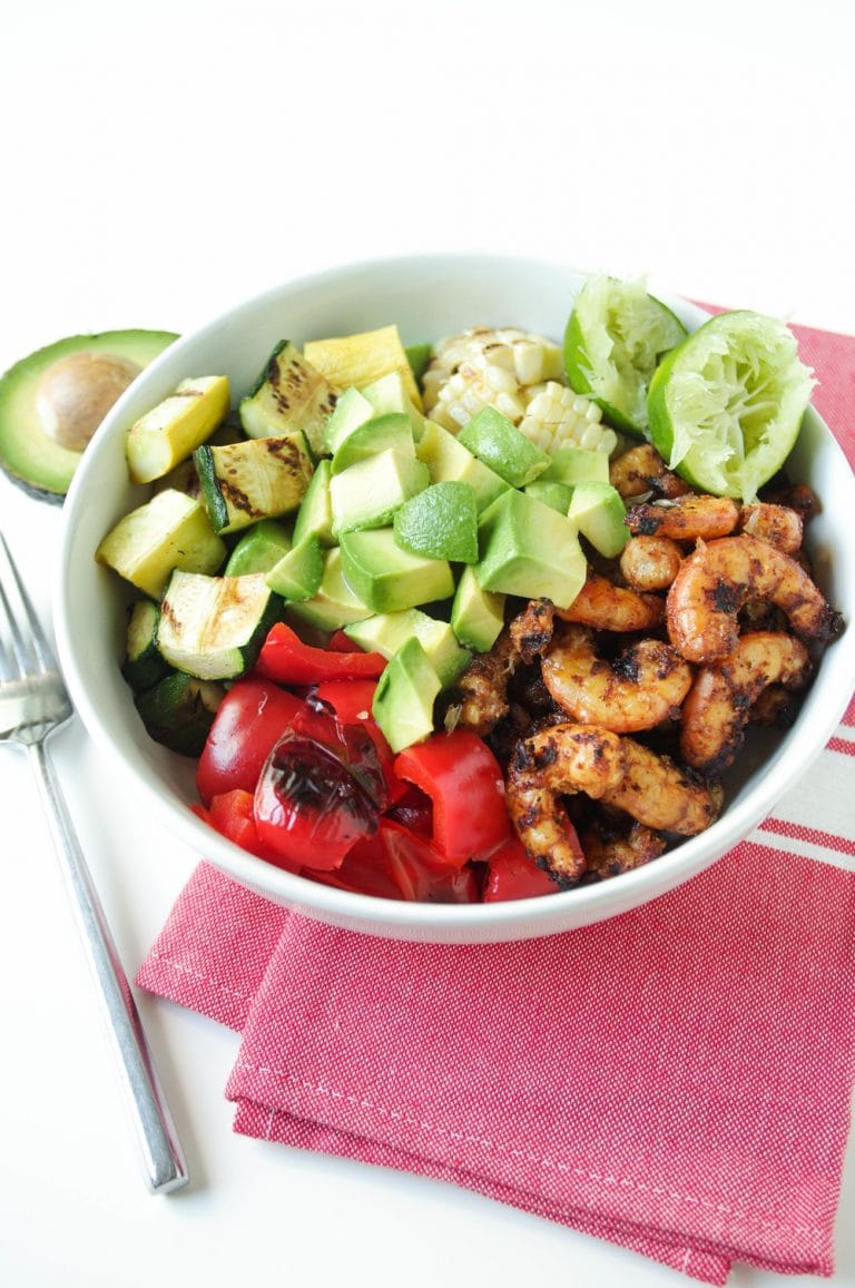 Grilled Shrimp and Veggies in white Bowls