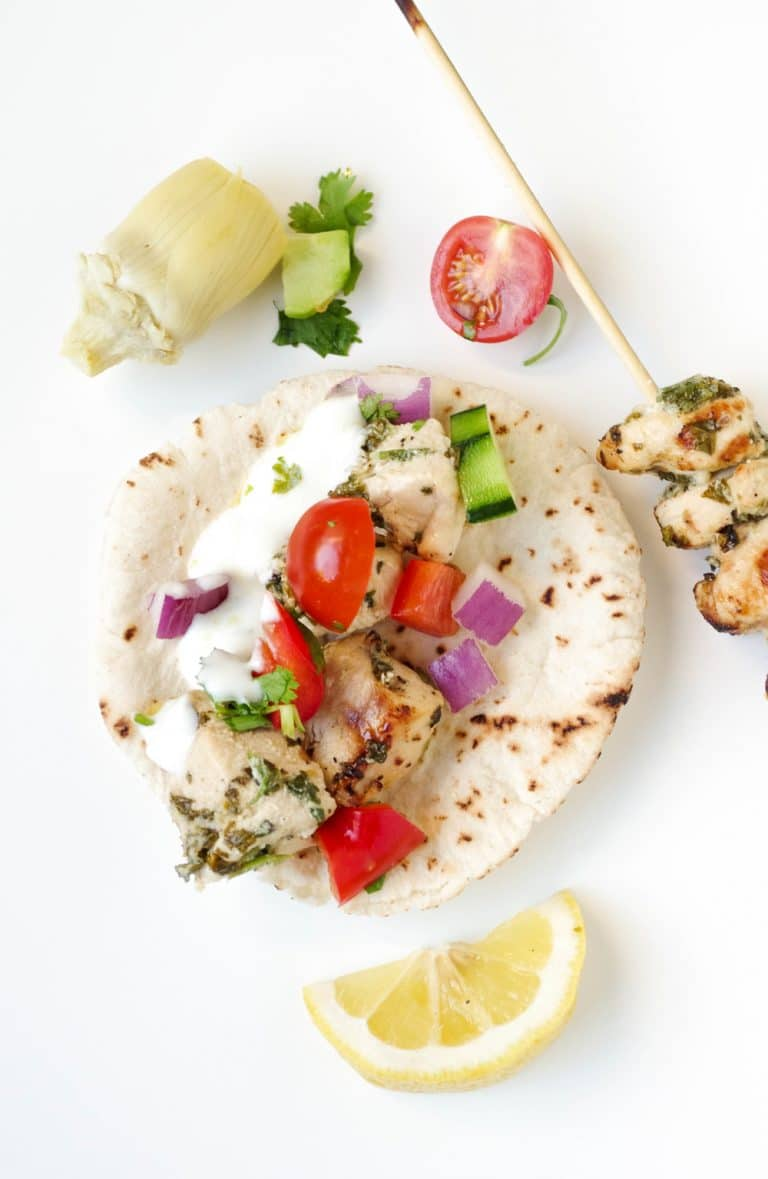 Grilled Chicken from skewer in wrap